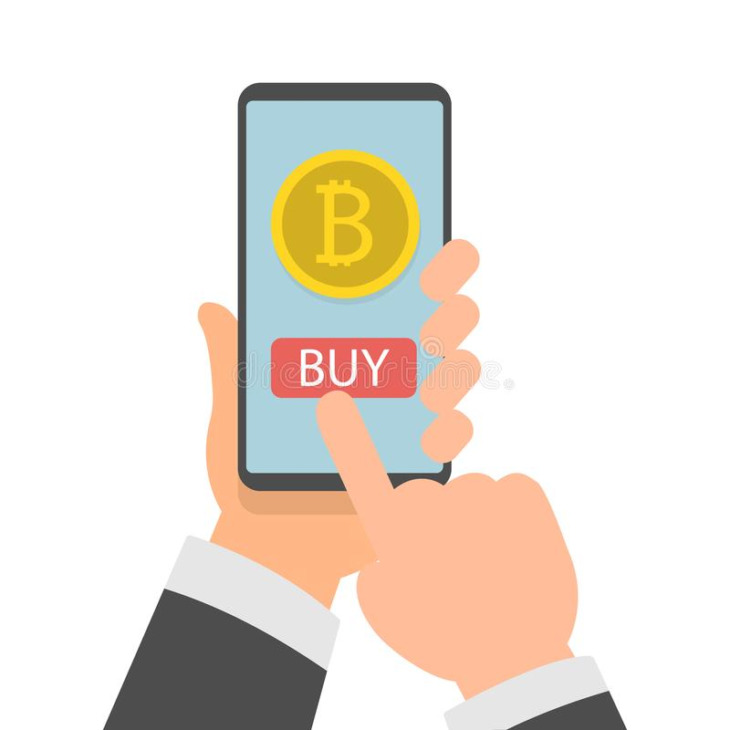 Businessman hand holding smartphone with Bitcoins on screen, Online bitcoin payment concept, Flat design vector stock illustration