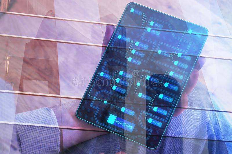 Technology and internet concept. Businessman hand holding tablet with digital chart on screen. Technology and internet concept. Double exposure royalty free stock photos