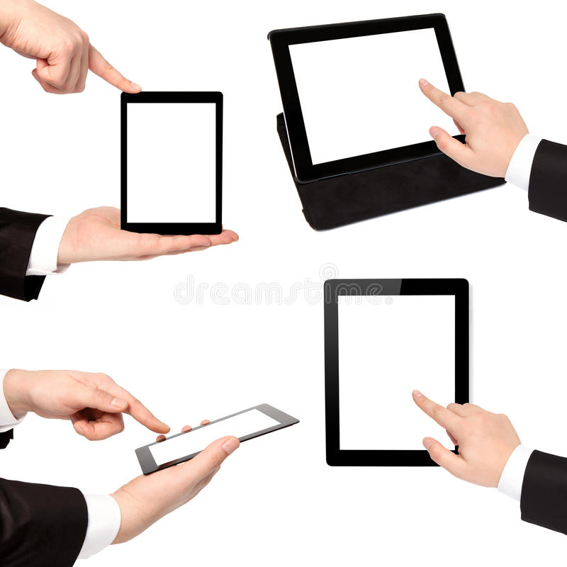 businessman hand holding touch tablet computer royalty free stock photos