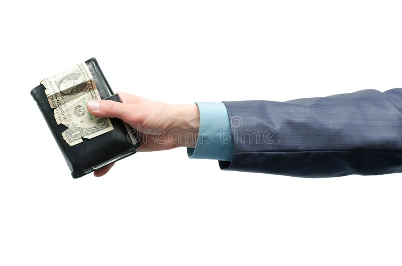 Wallet with money in hands. royalty free stock image