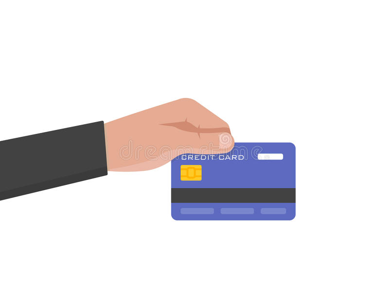 Businessman hand holds credit card vector illustration royalty free illustration