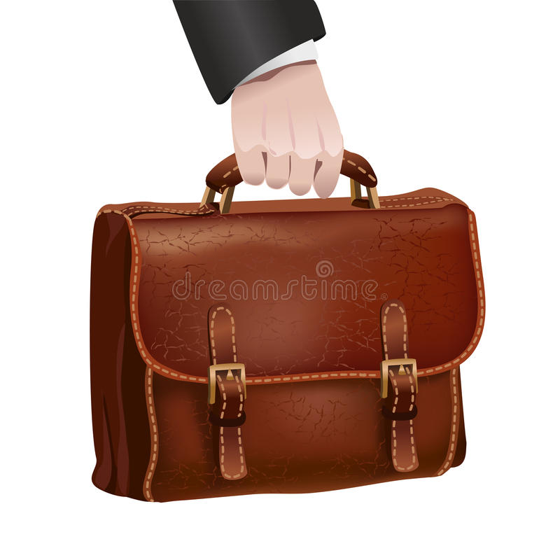 Download Businessman Hand Holds Leather Briefcase Stock Vector - Image: 39488171