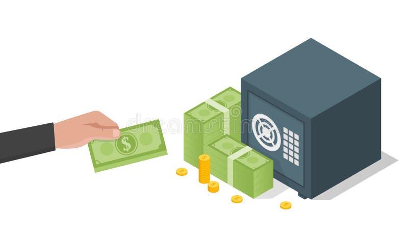 Businessman hand holds a stack of green dollars money in safe. Vector illustration royalty free illustration