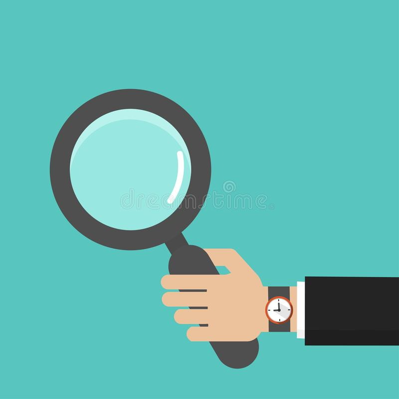 Businessman hand with magnifying glass icon vector illustration in flat style vector illustration