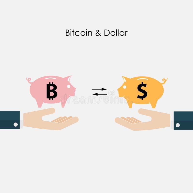 Businessman hand and piggy symbol.Dollar and Bitcoins exchange c stock illustration