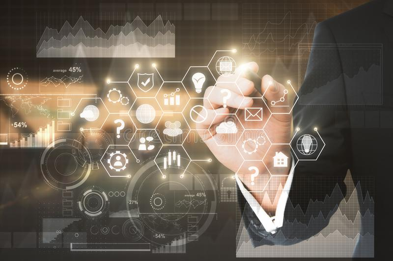 Technology, finance and communication concept royalty free stock images
