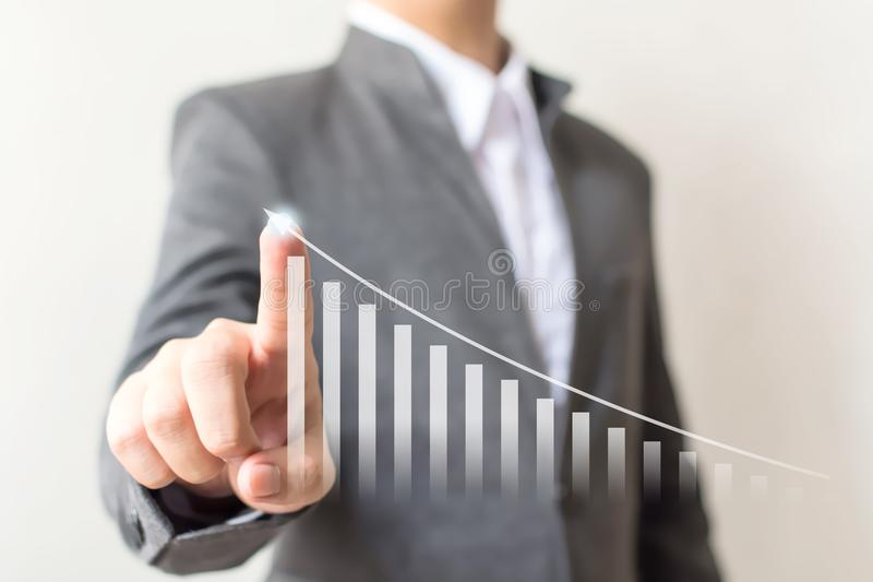 Businessman hand pointing arrow graph step up growth business an stock photos
