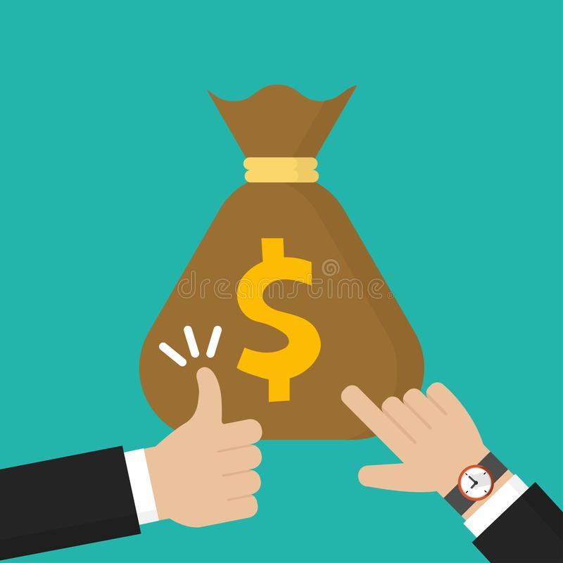 Businessman hand pointing at money bag and thumb up icon flat style vector illustration