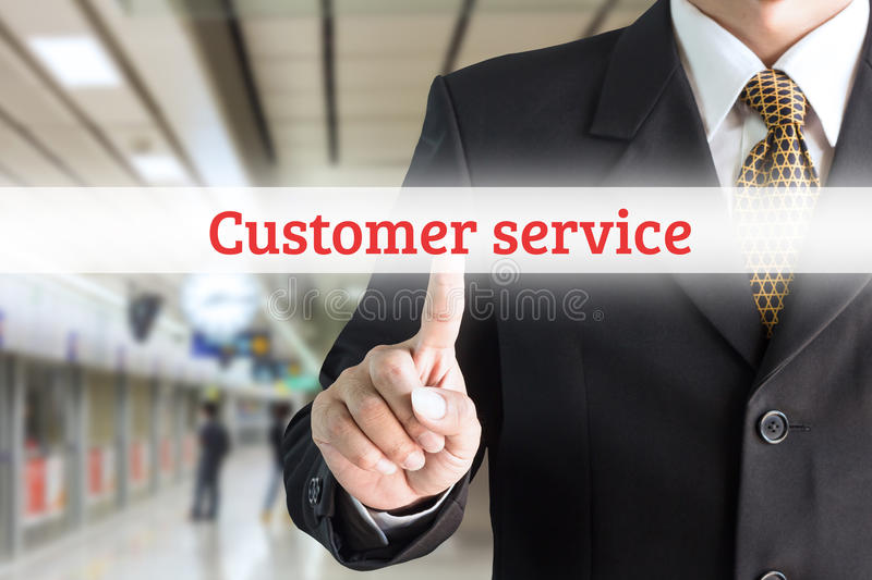 Businessman hand pointing on screen keyboard customer service. Can be used for text editing or bring your commercials royalty free stock photography