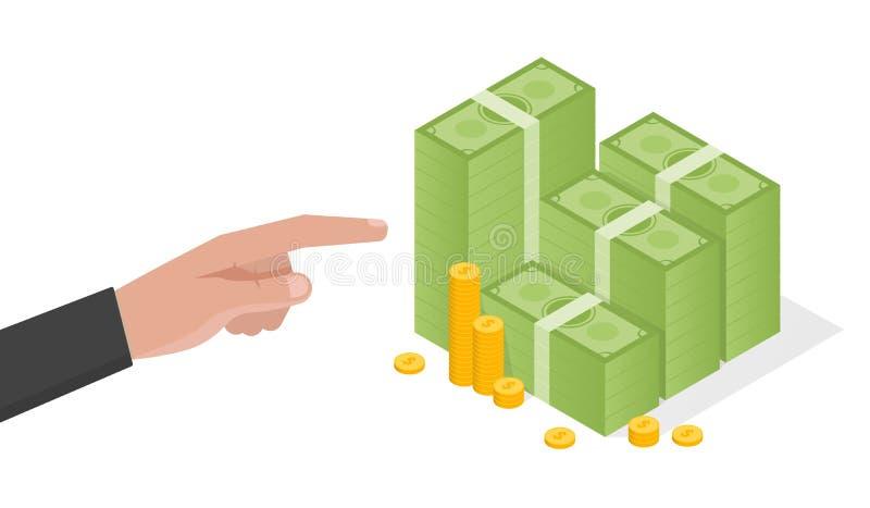 Businessman hand points a stack of green dollars money vector illustration royalty free illustration