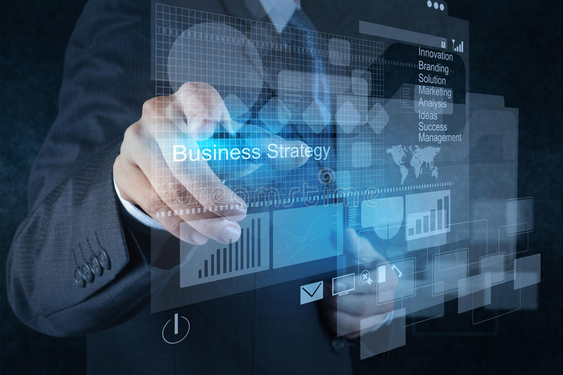 Businessman hand points to business strategy royalty free stock photos