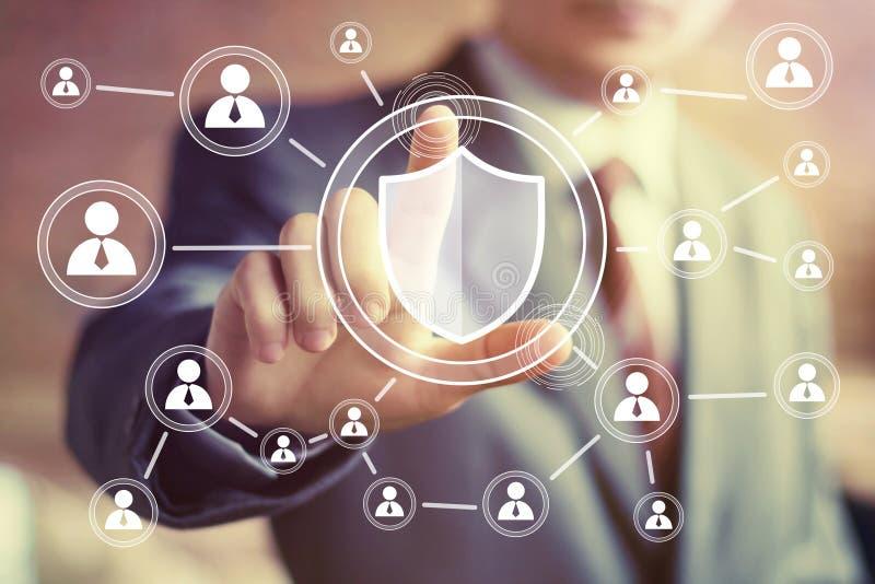 Businessman hand press shield security virus online button icon. Businessman hand press shield security virus online button