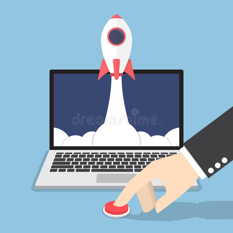 Businessman hand pushing the button to launch rocket from laptop. Monitor, startup business concept stock illustration
