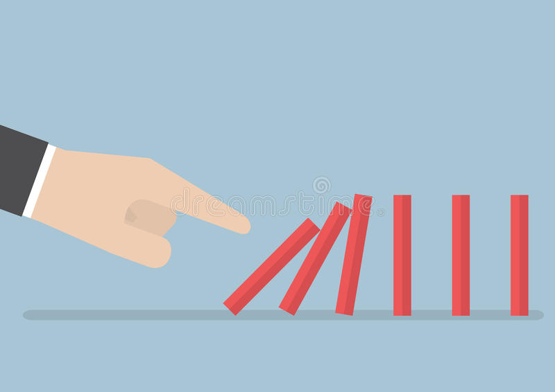Businessman hand pushing the domino effect royalty free illustration