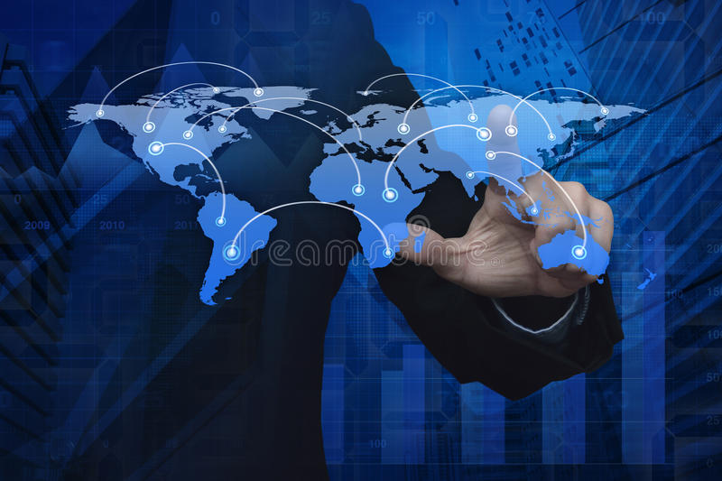 Businessman hand pushing global world business connection map ov. Er graph and city tower, Elements of this image furnished by NASA stock photography