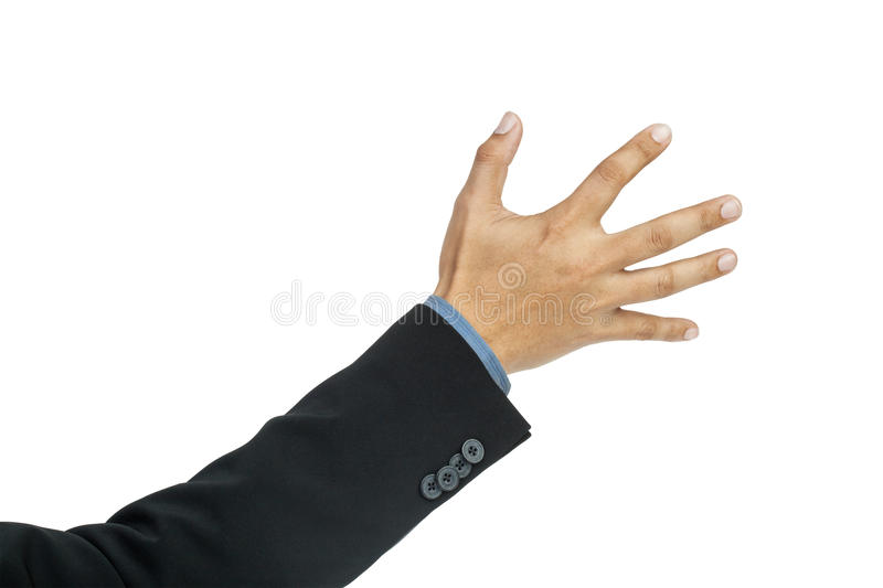 Businessman hand pushing screen on white. Background stock images
