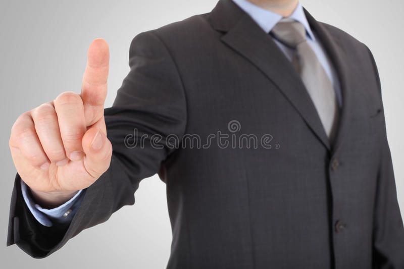 Businessman hand pushing screen stock photography