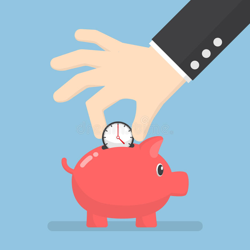 Businessman hand putting clock into piggy bank royalty free illustration