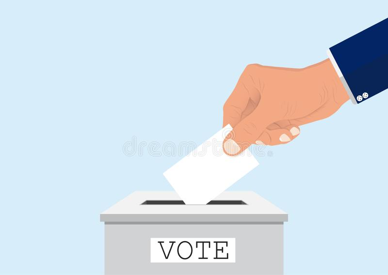 Businessman` hand putting voting paper into ballot box, voting concept stock illustration