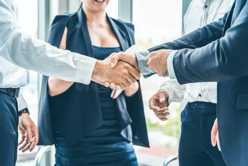 Businessman hand shake after the new project meeting. Business agreement concept stock photography