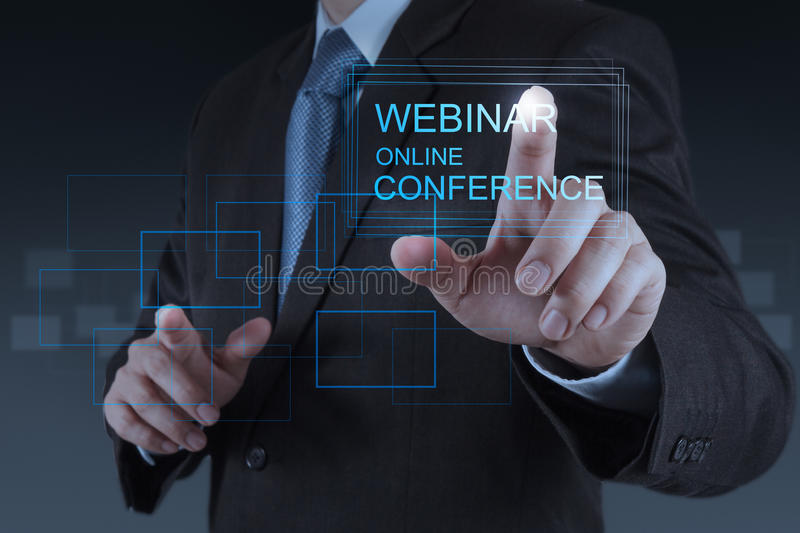 Businessman hand show webinar online conference. As concept royalty free stock photo