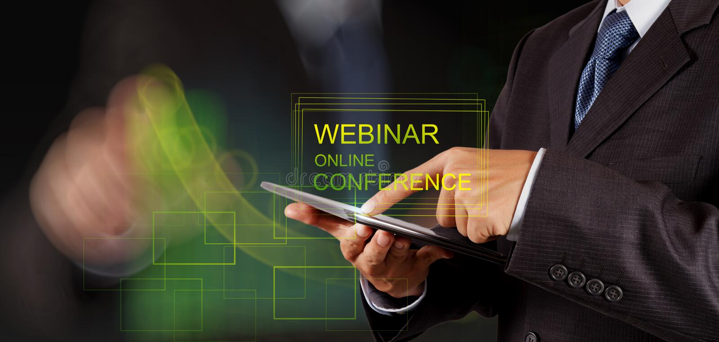 Businessman hand show webinar online conference stock photo
