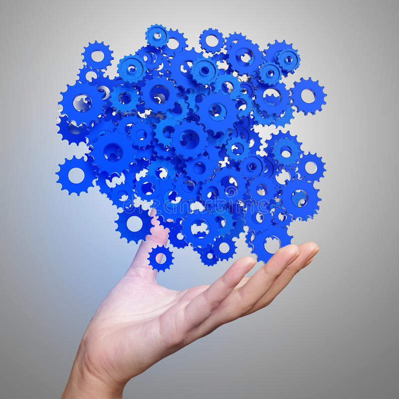Free Businessman Hand Showing Blue Gears Cogs Royalty Free Stock Photo - 45626365