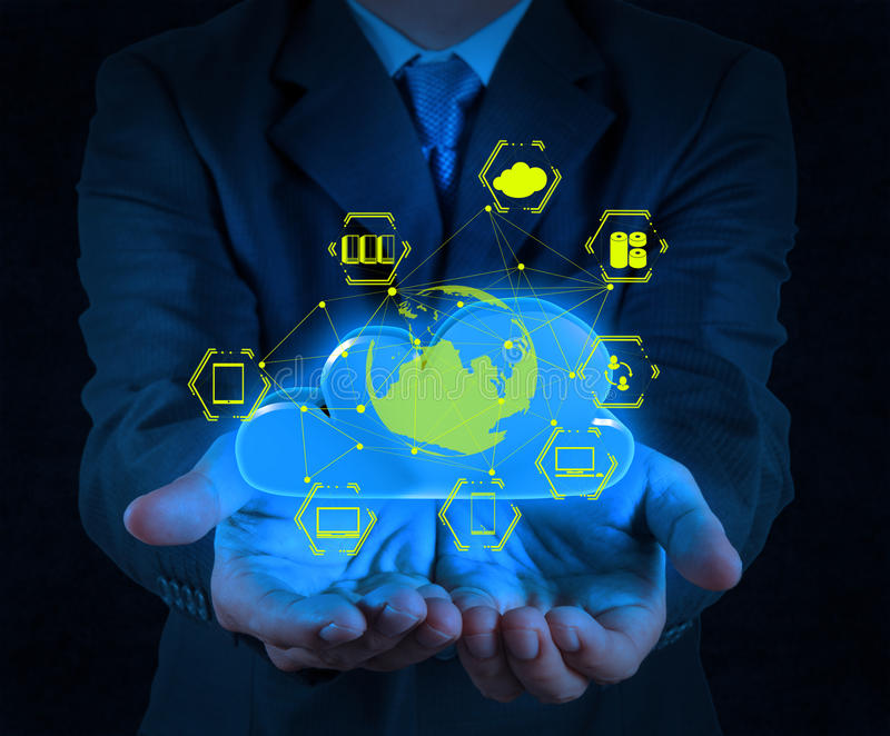 Businessman hand showing about cloud network. Idea concept royalty free stock images