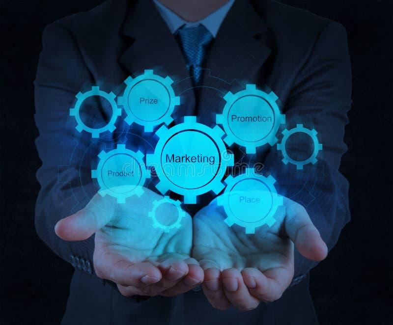 Businessman hand showing marketing 4P principle. Diagram stock image