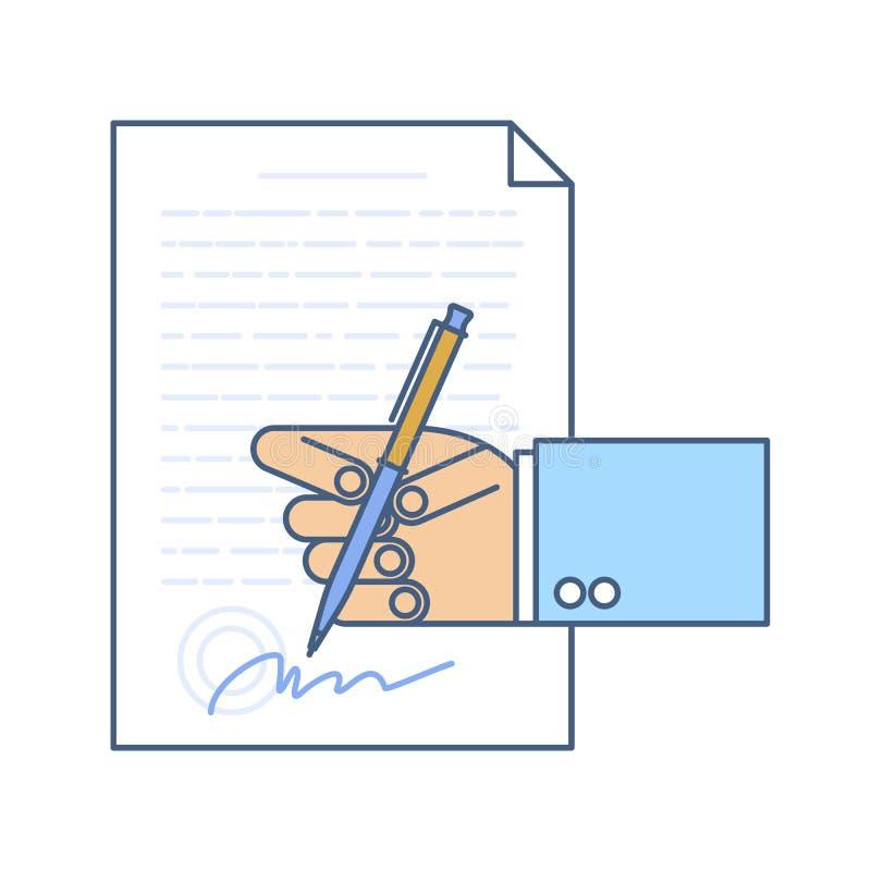 Businessman hand signing business document. stock illustration