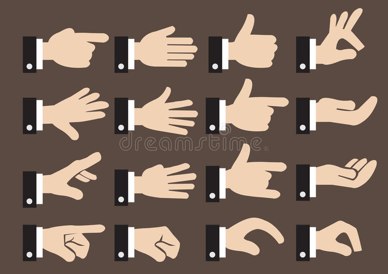 24 Businessman Hand Signs and Gestures Vector Icon Set stock illustration