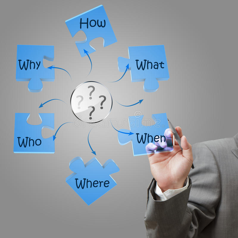 Businessman hand solving problem diagram stock images
