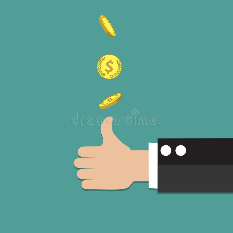 Businessman hand throwing up a coin. To make decision. vector illustration in flat style vector illustration