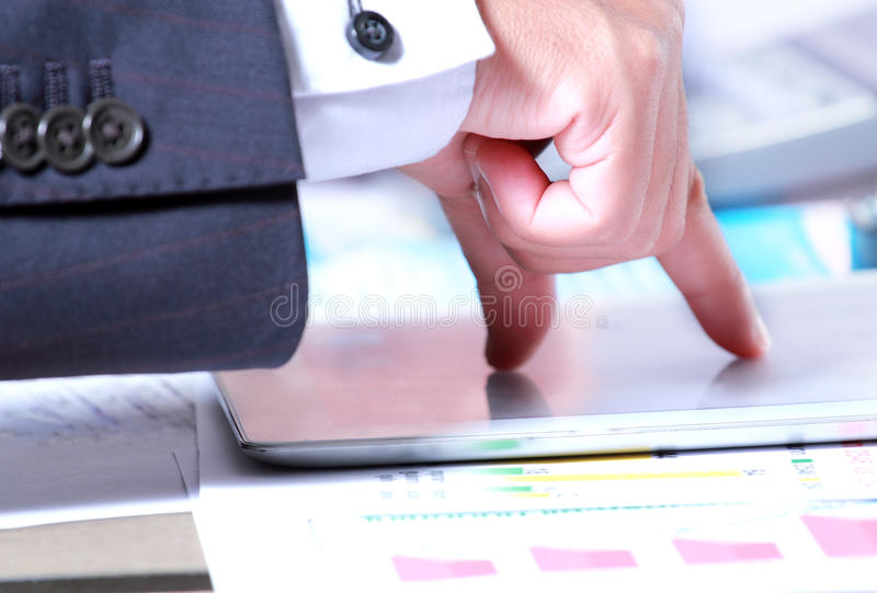 Download Businessman Hand Touch Tablet Stock Photo - Image: 27546926