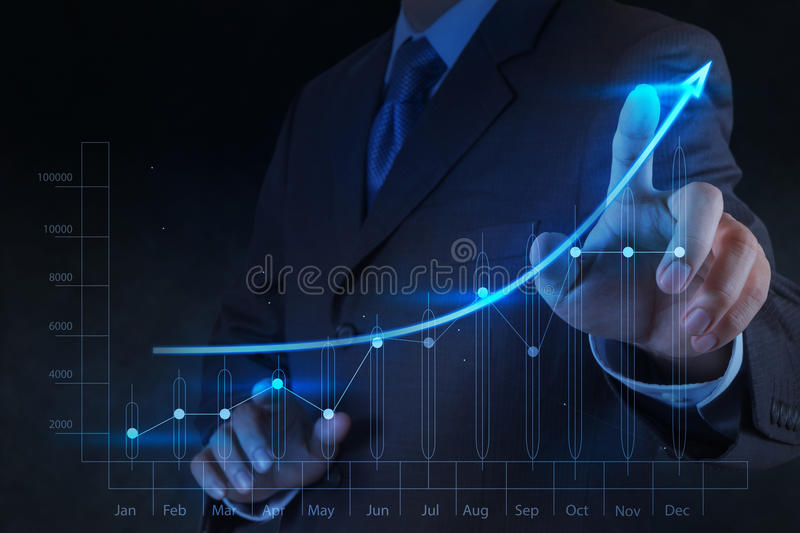 Businessman hand touch virtual chart business royalty free stock photography