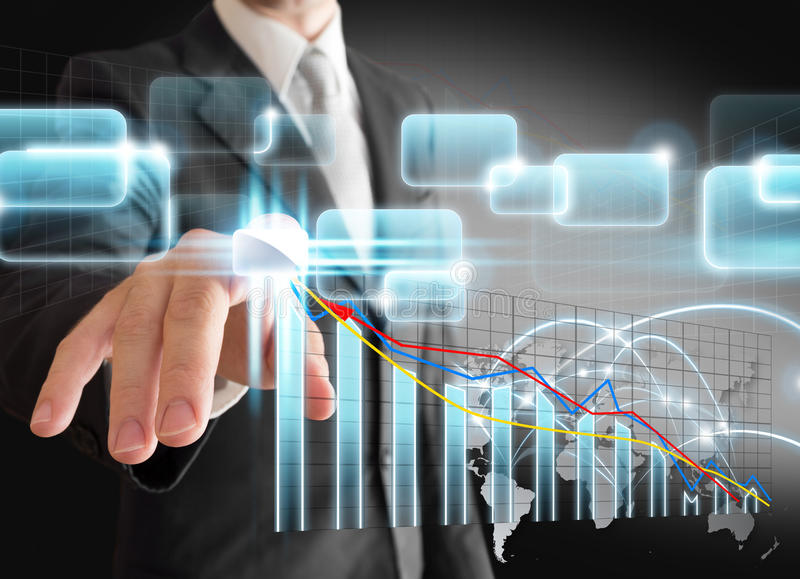 Businessman hand touch virtual stock graph, chart royalty free stock images