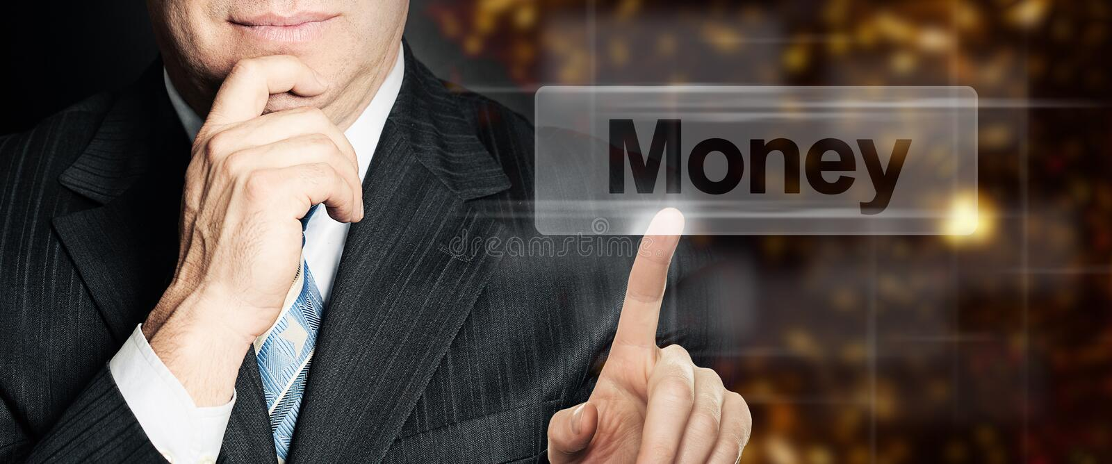 Businessman hand touching button Money, modern business background concept royalty free stock photos