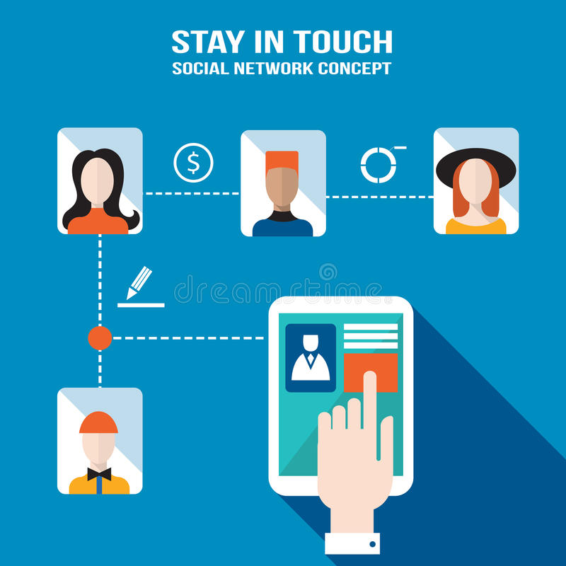 Businessman hand touching the tablet screen with web icons Stay in touch social network and e-commerce successful business concept vector illustration