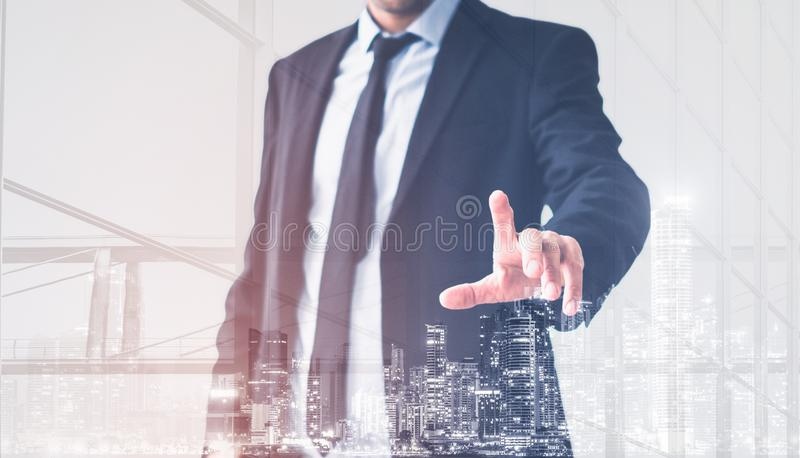 Businessman hand touching virtual screen, modern business man background concept stock illustration