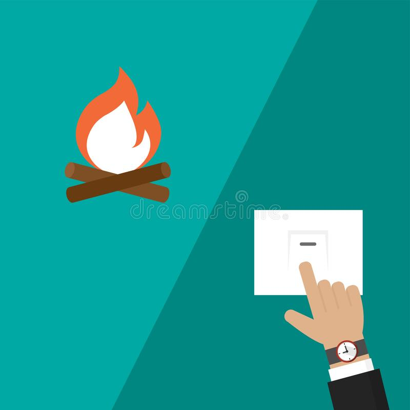 Businessman hand turning on or off electric switch with fire icon in flat design vector illustration