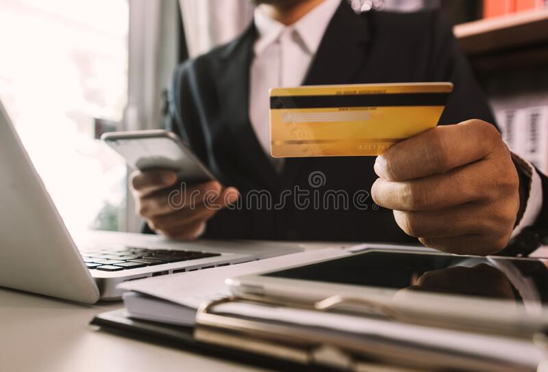 Online Shopping payments  concept. royalty free stock photos