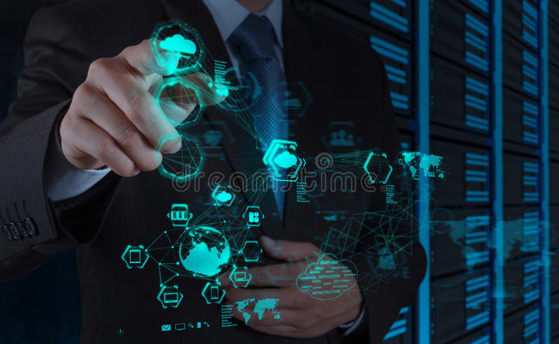 Businessman hand working with a Cloud Computing diagram. On the new computer interface stock photography