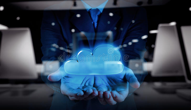Businessman hand working with a Cloud Computing. Double exposure of Businessman hand working with a Cloud Computing diagram on the new computer interface as stock photo