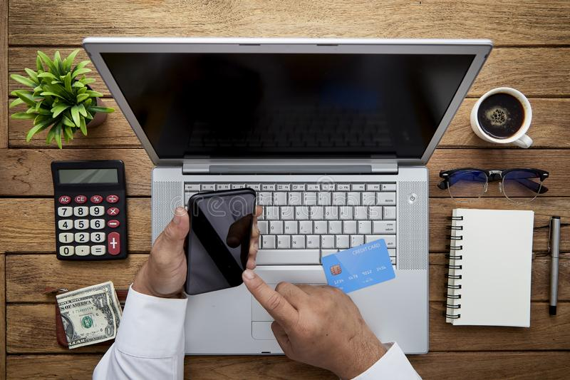businessman hand working with finances stock image