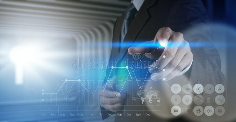 Businessman hand working with new modern computer. And business strategy as concept royalty free stock image