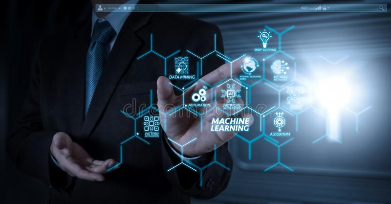 Businessman hand working with touch screen. Machine learning technology diagram with artificial intelligence (AI),neural network,automation,data mining in VR stock photos
