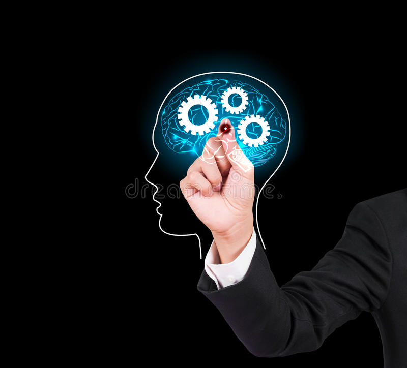 Businessman hand writing and drawing brain stock images
