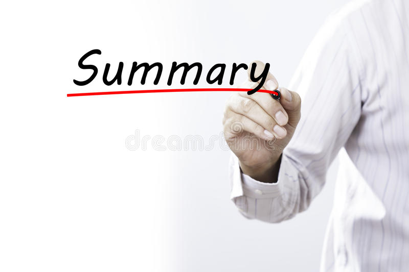 Businessman hand writing Summary with marker, Business concept.  royalty free stock photography