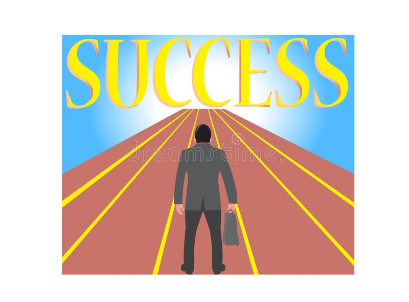 Businessman with handbag stand in the track looking forward to the future success design illustration on white background vector illustration