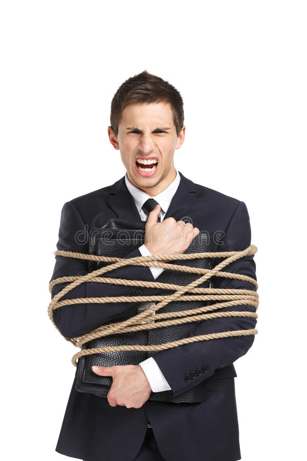 Businessman handing bag bound with the cord stock image